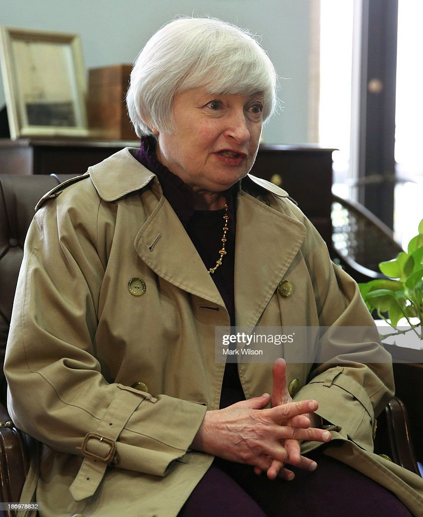<a gi-track='captionPersonalityLinkClicked' href=/galleries/search?phrase=Janet+Yellen&family=editorial&specificpeople=2731344 ng-click='$event.stopPropagation()'>Janet Yellen</a>, nominee for chair of the Federal Reserve, meets with Sen. Jon Tester (D-MT) in his office at the Hart Senate Office Building, November 5, 2013 in Washington, DC. If confirmed by the U.S. Senate Yellen will replace outgoing Fed Chair Ben Bernanke.