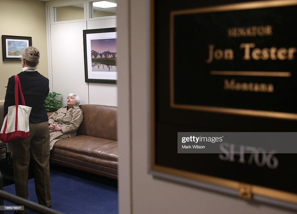 Janet Yellen (R) nominee for chair of the Federal Reserve waits to meet with Sen. Jon Tester (D-MT) in his office at the Hart Senate Office Building, November 5, 2013 in Washington, DC. If confirmed by the U.S. Senate Yellen will replace outgoing Fed Chair Ben Bernanke.