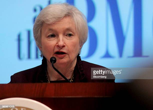 Janet Yellen president of the Federal Reserve Bank of San Francisco speaks at the University of San Diego's Joan Kroc Institute for Peace and Justice...