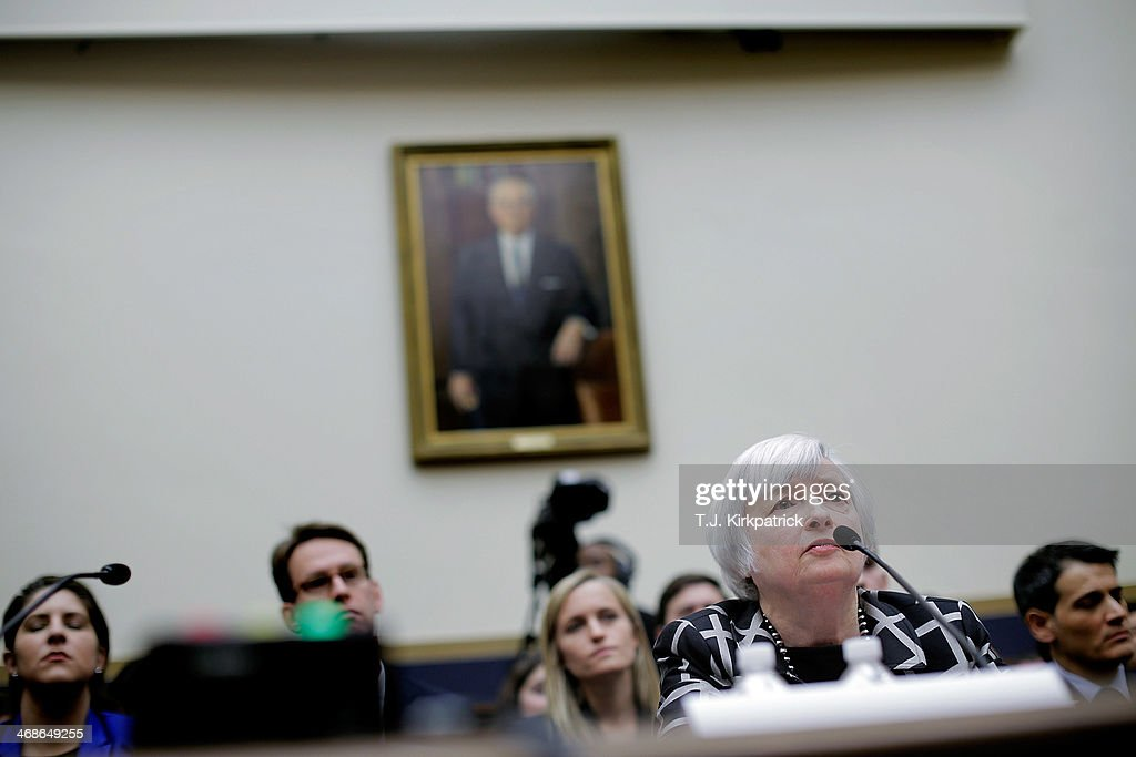 Janet Yellen, the new Federal Reserve Board chairwoman, appears before the House Financial Services Committee to give her first testimony as Fed chair on February 11, 2014 in Washington, DC. After two weak monthly jobs reports, Yellen's tesitmony is being watched closely for signs of the Fed's intentions to change course from tapering its bond-buying program.