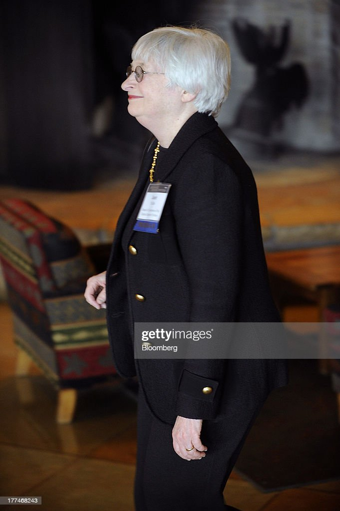 Janet Yellen, vice chairman of the board of governors of the Federal Reserve System, arrives at the Jackson Hole economic symposium, sponsored by the Kansas City Federal Reserve Bank at the Jackson Lake Lodge in Moran, Wyoming, U.S., on Thursday, Aug. 22, 2013. The U.S. central banks bond buying is a less potent tool for stimulating growth than policy makers believe, two economists said in a paper released Aug. 23 at the conference. Photographer: Price Chambers/Bloomberg via Getty Images