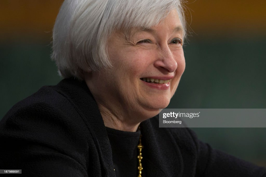 <a gi-track='captionPersonalityLinkClicked' href=/galleries/search?phrase=Janet+Yellen&family=editorial&specificpeople=2731344 ng-click='$event.stopPropagation()'>Janet Yellen</a>, vice chairman of the U.S. Federal Reserve and U.S. President Barack Obama's nominee as chairman of the Federal Reserve, smiles during a Senate Banking Committee confirmation hearing in Washington, D.C., U.S., on Thursday, Nov. 14, 2013. Yellen said she is committed to promoting a strong economic recovery and will ensure monetary stimulus isn't removed too soon. Photographer: Andrew Harrer/Bloomberg via Getty Images