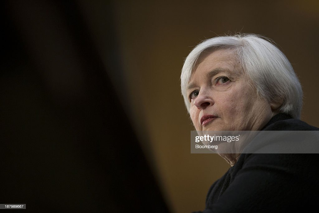 <a gi-track='captionPersonalityLinkClicked' href=/galleries/search?phrase=Janet+Yellen&family=editorial&specificpeople=2731344 ng-click='$event.stopPropagation()'>Janet Yellen</a>, vice chairman of the U.S. Federal Reserve and U.S. President Barack Obama's nominee as chairman of the Federal Reserve, listens during a Senate Banking Committee confirmation hearing in Washington, D.C., U.S., on Thursday, Nov. 14, 2013. Yellen said she is committed to promoting a strong economic recovery and will ensure monetary stimulus isn't removed too soon. Photographer: Andrew Harrer/Bloomberg via Getty Images