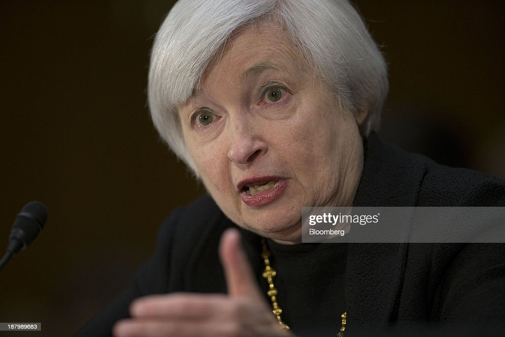 <a gi-track='captionPersonalityLinkClicked' href=/galleries/search?phrase=Janet+Yellen&family=editorial&specificpeople=2731344 ng-click='$event.stopPropagation()'>Janet Yellen</a>, vice chairman of the U.S. Federal Reserve and U.S. President Barack Obama's nominee as chairman of the Federal Reserve, speaks during a Senate Banking Committee confirmation hearing in Washington, D.C., U.S., on Thursday, Nov. 14, 2013. Yellen said she is committed to promoting a strong economic recovery and will ensure monetary stimulus isn't removed too soon. Photographer: Andrew Harrer/Bloomberg via Getty Images