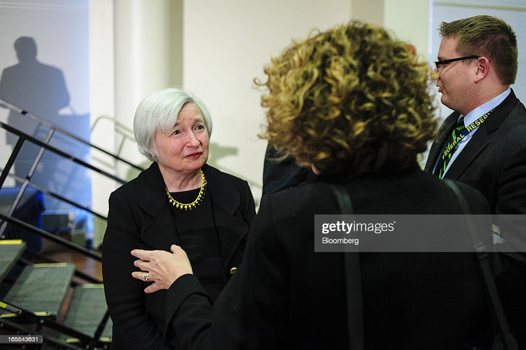 <a gi-track='captionPersonalityLinkClicked' href=/galleries/search?phrase=Janet+Yellen&family=editorial&specificpeople=2731344 ng-click='$event.stopPropagation()'>Janet Yellen</a>, vice chairman of the U.S. Federal Reserve, left, speaks with attendees at the Society of American Business Editors and Writers (SABEW) 2013 Spring Conference in Washington, D.C., U.S., on Thursday, April 4, 2013. Yellen said the Federal Open Market Committee should be prepared to alter its $85 billion monthly pace of bond buying based on changes in the economic outlook.Photographer: Pete Marovich/Bloomberg via Getty Images