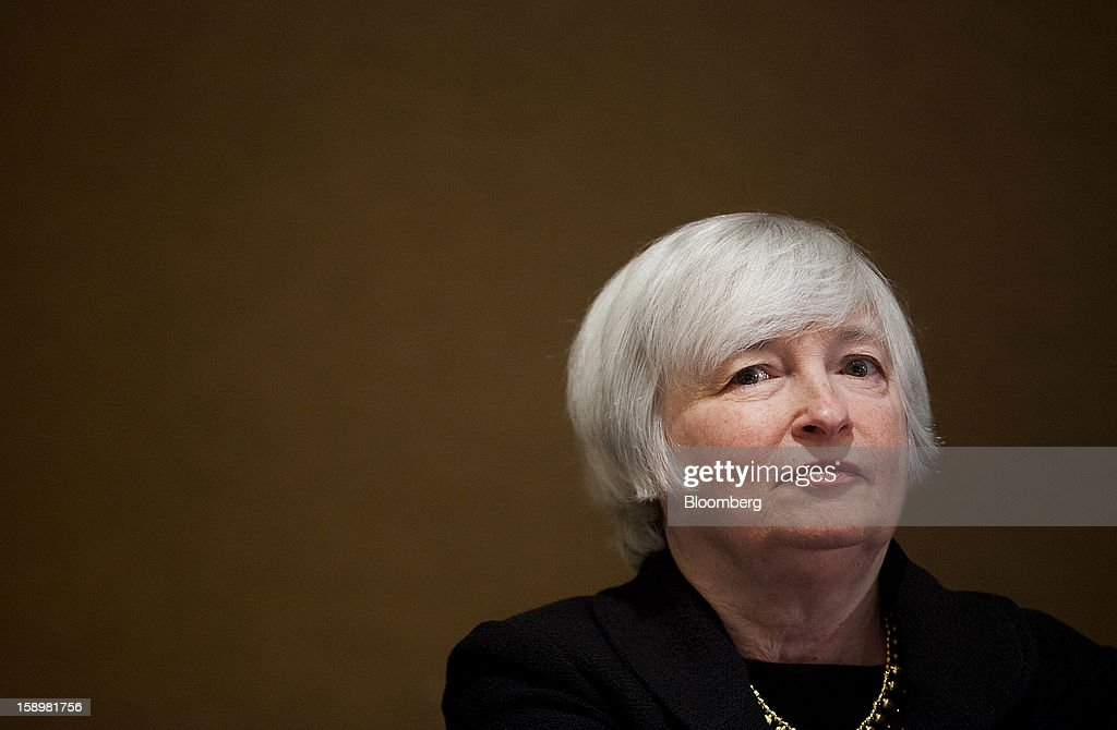 Janet Yellen, vice chairman of the U.S. Federal Reserve, listens before speaking at the American Economic Association's annual meeting in San Diego, California, U.S., on Friday, Jan. 4, 2013. Yellen said financial markets should be regulated more tightly to reduce the risk of 2008-like credit crises. Photographer: Sam Hodgson/Bloomberg via Getty Images