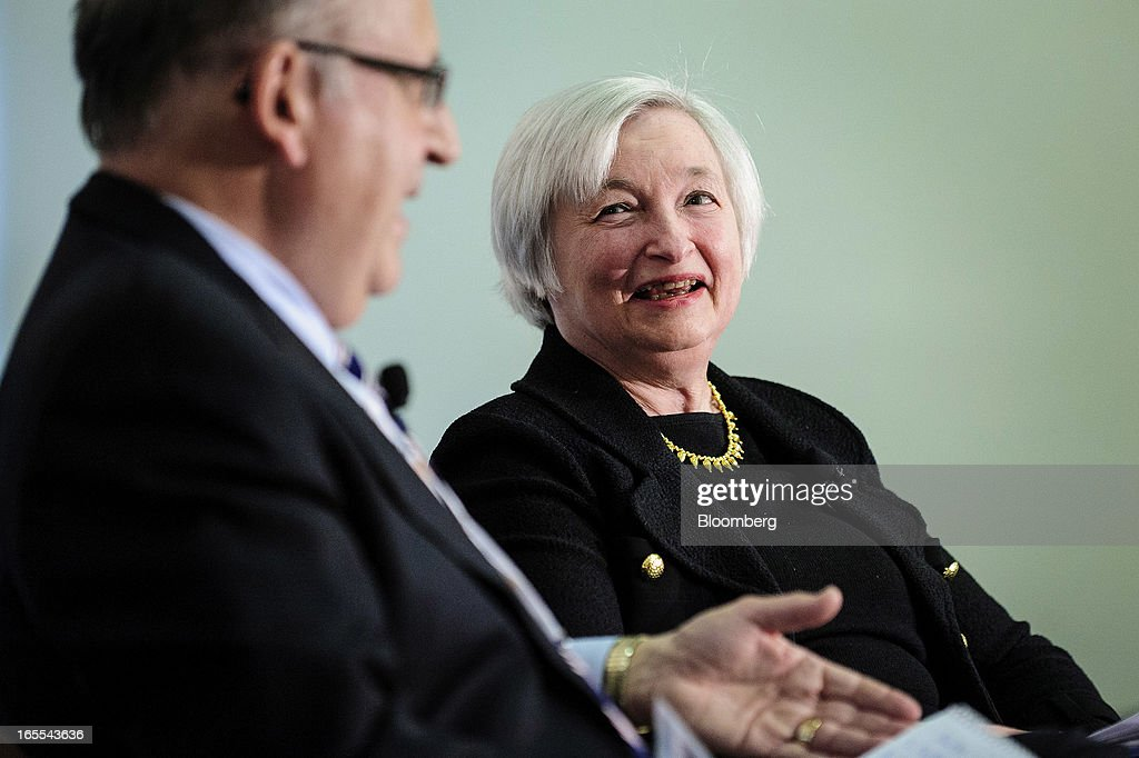 Janet Yellen, vice chairman of the U.S. Federal Reserve, right, laughs while speaking with Allan Sloan, senior editor of Fortune Magazine, at the Society of American Business Editors and Writers (SABEW) 2013 Spring Conference in Washington, D.C., U.S., on Thursday, April 4, 2013. Yellen said the Federal Open Market Committee should be prepared to alter its $85 billion monthly pace of bond buying based on changes in the economic outlook.Photographer: Pete Marovich/Bloomberg via Getty Images