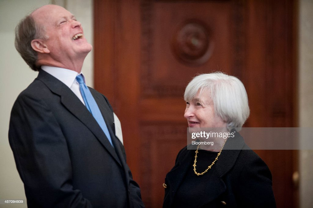 <a gi-track='captionPersonalityLinkClicked' href=/galleries/search?phrase=Janet+Yellen&family=editorial&specificpeople=2731344 ng-click='$event.stopPropagation()'>Janet Yellen</a>, vice chairman of the U.S. Federal Reserve, right, laughs with <a gi-track='captionPersonalityLinkClicked' href=/galleries/search?phrase=Charles+Plosser&family=editorial&specificpeople=6564347 ng-click='$event.stopPropagation()'>Charles Plosser</a>, president of the Federal Reserve Bank of Philadelphia, at an event commemorating the Federal Reserve Act, the legislation that created the central bank, in Washington, D.C., U.S., on Monday, Dec. 16, 2013. Federal Reserve Chairman Ben S. Bernanke said at the event that a willingness to resist political encroachment has been a key strength of the Fed during its first century as the U.S. central bank. Photographer: Pete Marovich/Bloomberg via Getty Images