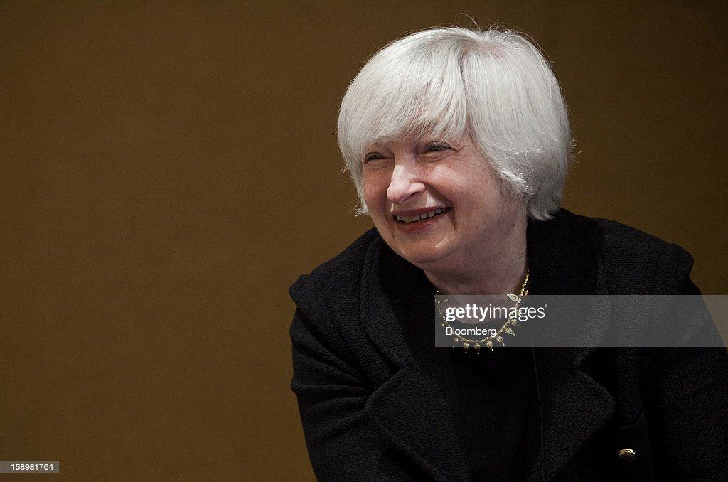 Janet Yellen, vice chairman of the U.S. Federal Reserve, smiles before speaking at the American Economic Association's annual meeting in San Diego, California, U.S., on Friday, Jan. 4, 2013. Yellen said financial markets should be regulated more tightly to reduce the risk of 2008-like credit crises. Photographer: Sam Hodgson/Bloomberg via Getty Images
