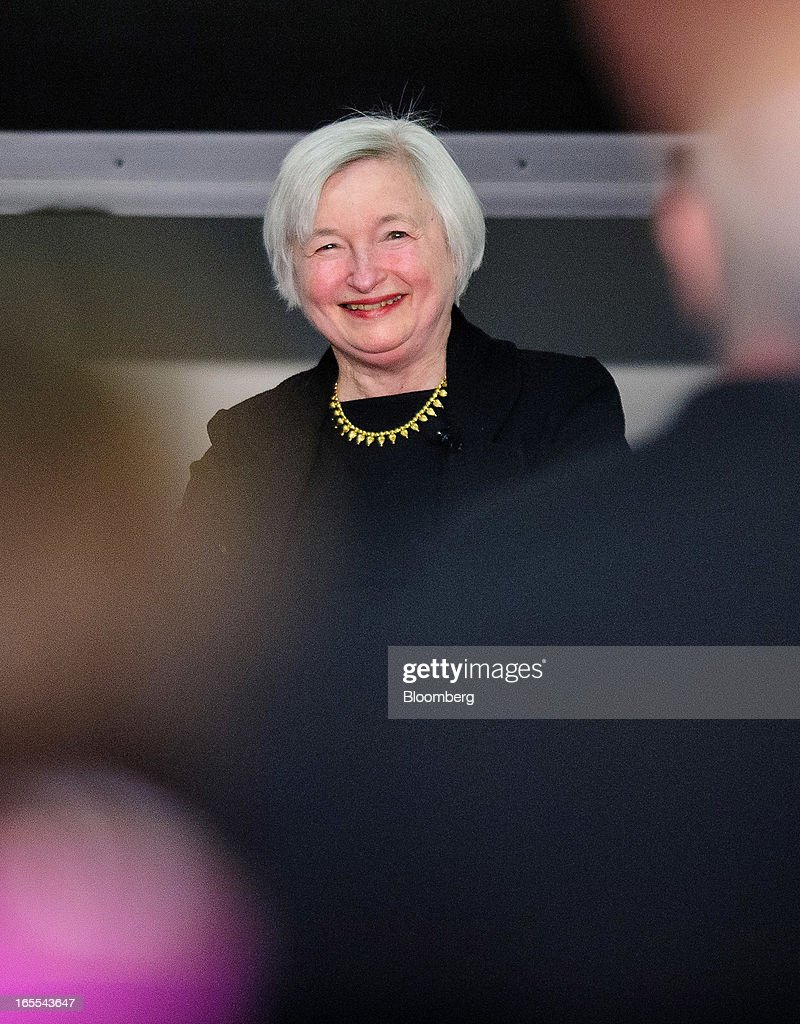 <a gi-track='captionPersonalityLinkClicked' href=/galleries/search?phrase=Janet+Yellen&family=editorial&specificpeople=2731344 ng-click='$event.stopPropagation()'>Janet Yellen</a>, vice chairman of the U.S. Federal Reserve, smiles while speaking at the Society of American Business Editors and Writers (SABEW) 2013 Spring Conference in Washington, D.C., U.S., on Thursday, April 4, 2013. Yellen said the Federal Open Market Committee should be prepared to alter its $85 billion monthly pace of bond buying based on changes in the economic outlook.Photographer: Pete Marovich/Bloomberg via Getty Images