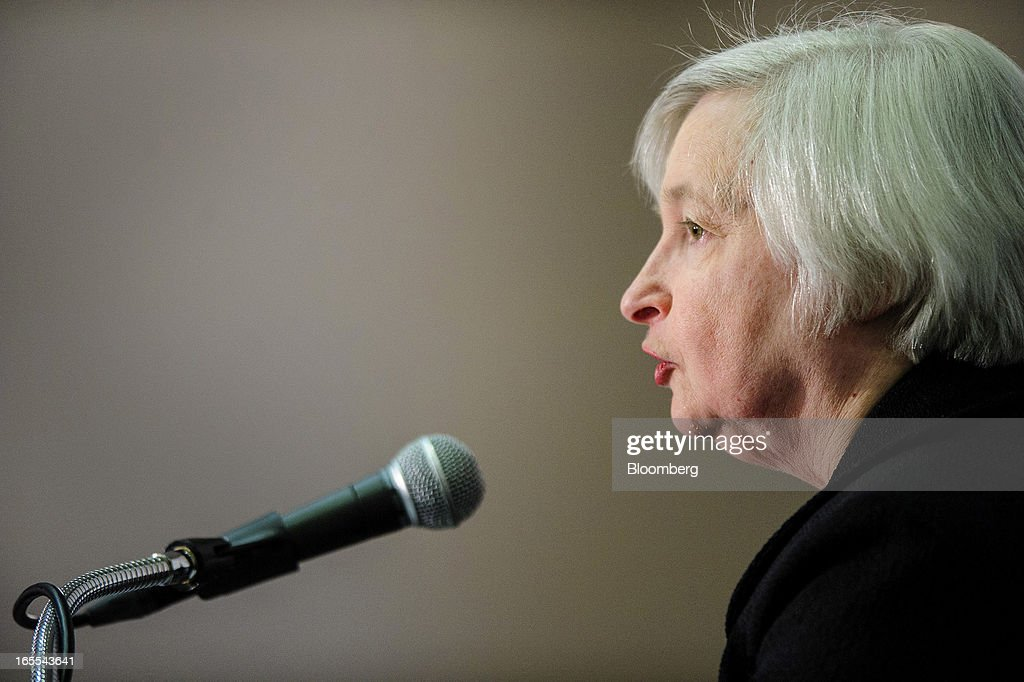 Janet Yellen, vice chairman of the U.S. Federal Reserve, speaks at the Society of American Business Editors and Writers (SABEW) 2013 Spring Conference in Washington, D.C., U.S., on Thursday, April 4, 2013. Yellen said the Federal Open Market Committee should be prepared to alter its $85 billion monthly pace of bond buying based on changes in the economic outlook.Photographer: Pete Marovich/Bloomberg via Getty Images