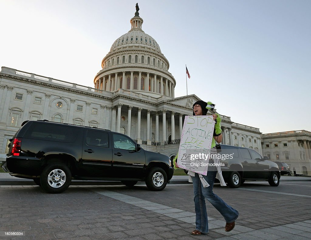 Janette Dunder of Alexandria Virgina demonstrates against Congress and lawmakers' inability to pass a budget outside the US Capitol September 30 2013...