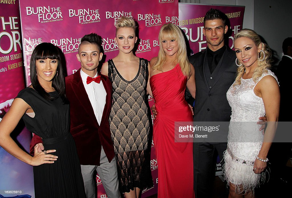 Janette Manrara, Robbie Kmetoni, Faye Huddleston, Ash-Leigh Hunter, Aljaz Skorjanec and Kristina Rihanoff attend an after party celebrating the press night performance of 'Burn The Floor' at the Trafalgar Hotel on March 11, 2013 in London, England.