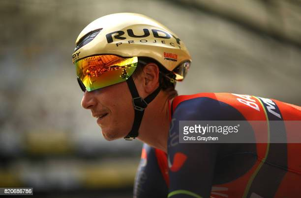 Janez Brajkovic of Slovakia and Bahrain Merida looks on ahead of stage twenty of Le Tour de France 2017 on July 22 2017 in Marseille France
