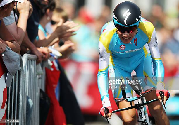 Janez Brajkovic of Slovenia and the Astana Pro Team in action during the Tour de France Prologue at Parc d'Avroy on June 30 2012 in Liege Belgium The...