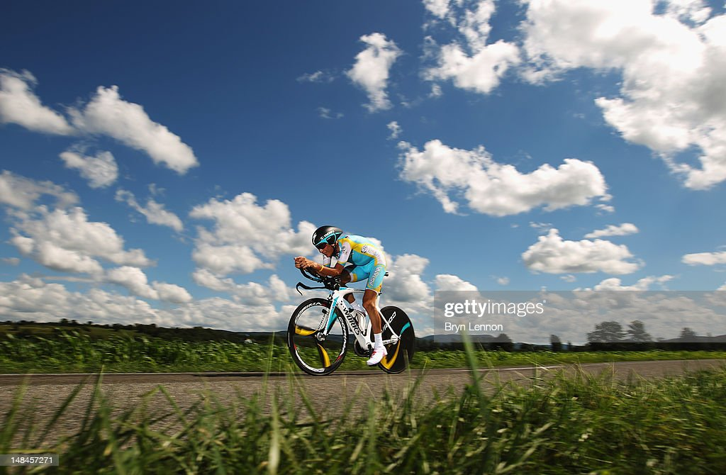 Janez Brajkovic of Slovenia and the Astana Pro Team in action during stage nine of the 2012 Tour de France, a 41.5km individual time trial, from Arc-et-Senans to Besancon on July 9, 2012 in Besancon, France.