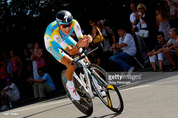 Janez Brajkovic of Slovenia riding for Astana Pro Cycling Team competes in the individual time trial on stage nine of the 2012 Tour de France from...
