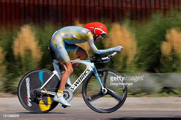 Janez Brajkovic of Slovenia riding for Astana Pro Team competes in the individual time trial during stage seven of the USA Pro Challenge on August 26...