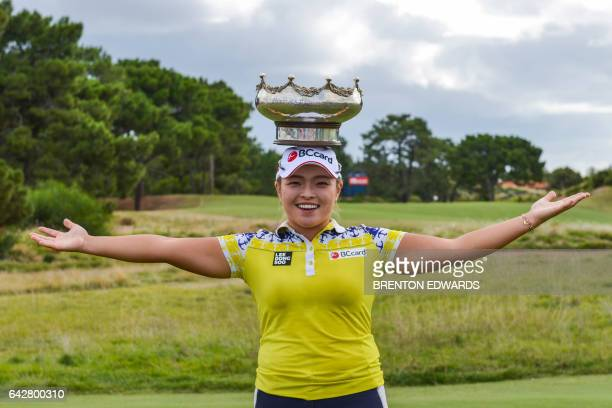 Jang HaNa of South Korea poses with the winner's trophy after winning the Australian Open golf tournament at the Royal Adelaide Golf Club in South...