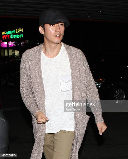 Jang Hyuk attends the drama 'Fated to Love You' closing dinner party at Mullaedong on September 4 2014 in Seoul South Korea