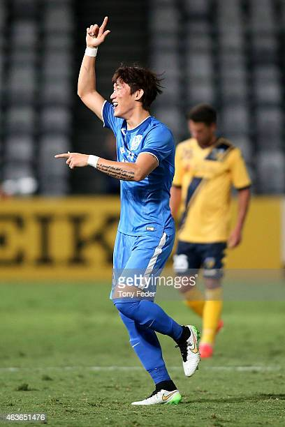 Jang Hyunsoo of Guangzhou RF celebrates a goal during the Asian Champions League qualifying match between the Central Coast Mariners and Guangzhou at...