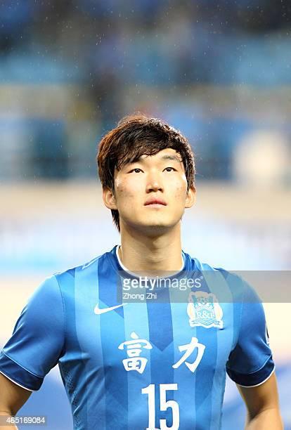 Jang Hyunsoo of Guangzhou RF during the AFC Asian Champions League Group F match between Guangzhou RF and Buriram United at Yuexiu Mountain Stadium...