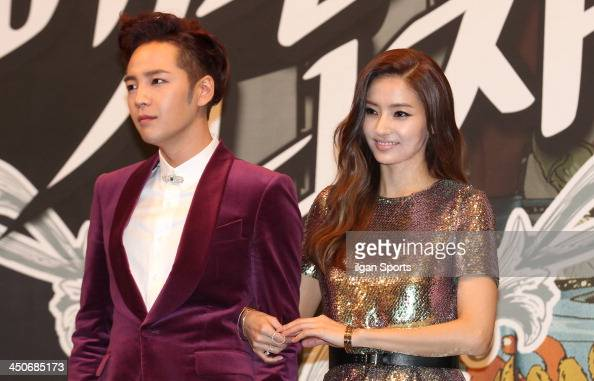 Jang KeunSuk and Han ChaeYoung attend the KBS2 Drama 'Pretty Man' press conference at Imperial Palace Hotel on November 18 2013 in Seoul South Korea