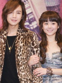 Jang KeunSuk and Moon GeunYoung attend the KBS 2TV 'Merry Nun Oe Park Jung' Press Conference at Imperial Palace Hotel on November 3 2010 in Seoul...