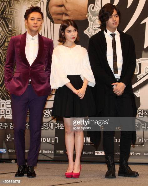 Jang KeunSuk IU and Lee JangWoo attend the KBS2 Drama 'Pretty Man' press conference at Imperial Palace Hotel on November 18 2013 in Seoul South Korea
