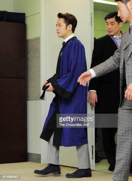 Jang KeunSuk poses for photographs during the Hanyang university graduation on February 21 2014 in Seoul South Korea