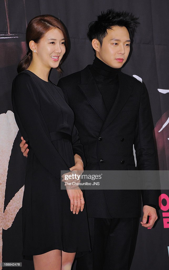 Jang Mi In Ae and Park Yoo-Chun attend the MBC Drama 'Missing You' Press Conference at lotte hotel on November 1, 2012 in Seoul, South Korea.