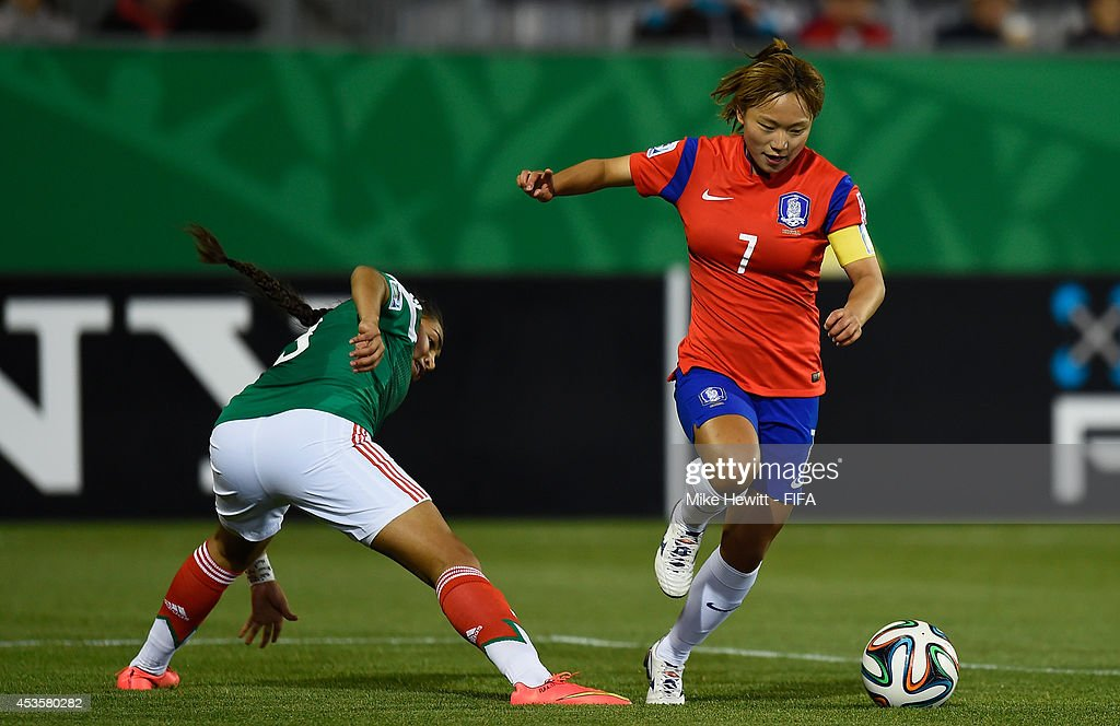 Jang Selgi of Korea Republic gets past Estefania Fuentes of Mexico during the FIFA U-20 Women's World Cup Canada 2014 Group D match between Korea Republic and Mexico at the National Soccer Stadium on August 13, 2014 in Toronto, Canada.