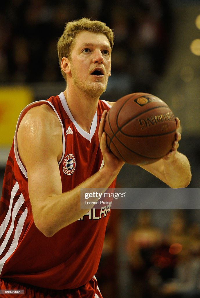 Jan-Hendrik Jagla of Muenchen shoots during the Beko Basketball match between FC Bayern Muenchen and Telekom Baskets Bonn at Audi-Dome on December 9, 2012 in Munich, Germany.