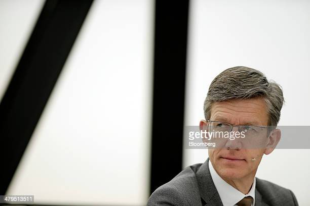 JanHenrik Lafrentz finance chief at Bentley Motors Ltd pauses during a news conference to announce the company's financial results in London UK on...