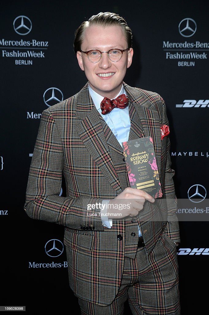 Jan-Henrik M. Scheper-Stuke attends Lena Hoschek Autumn/Winter 2013/14 fashion show during Mercedes-Benz Fashion Week Berlin at Brandenburg Gate on January 15, 2013 in Berlin, Germany.