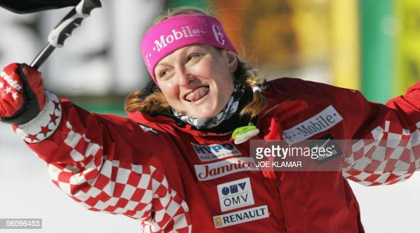 Janica Kostelic of Croatia celebrates her victory in the finish of women's super G competition of the FIS World cup in Alpine Skiing in Bad...