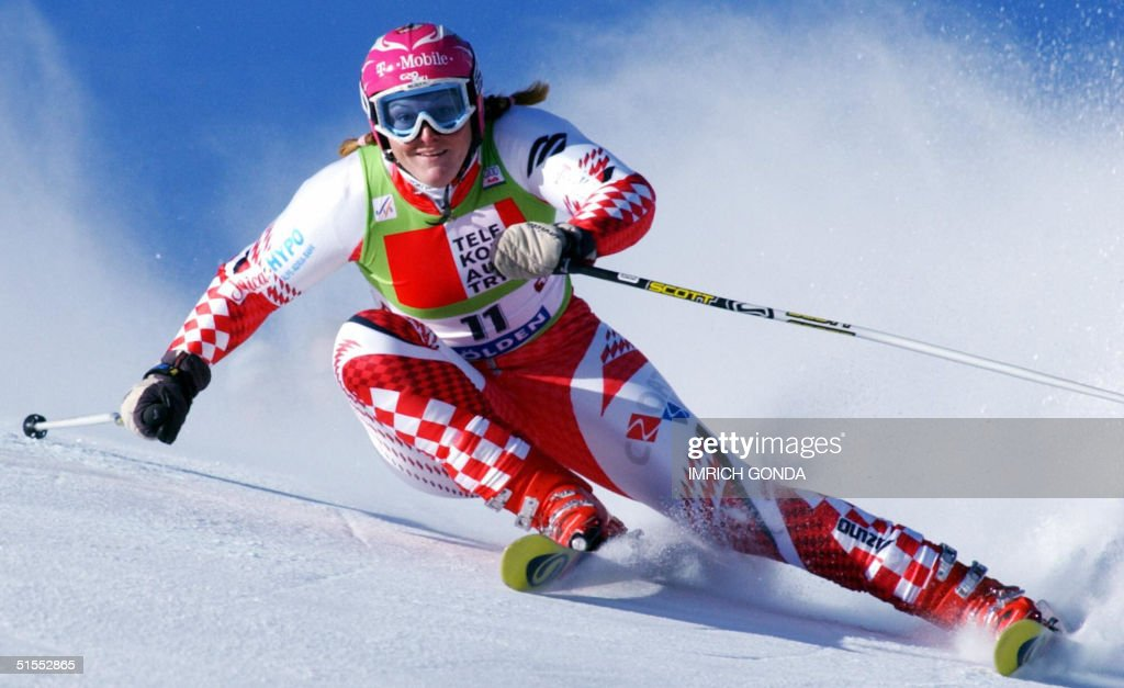 Janica Kostelic of Croatia competes in the giant slalom during the season-opening women's World Cup giant slalom in Soelden 23 October 2004. Anja Paerson of Sweden won ahead of Tanja Poutianen of Finland and Maria Jose Rienda Contreras of Spain. Kostelic finished eighth.