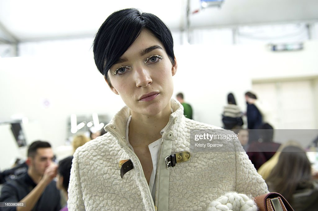 Janice Alida poses backstage before the Chanel Fall/Winter 2013/14 Ready-to-Wear show as part of Paris Fashion Week at Grand Palais on March 5, 2013 in Paris, France.