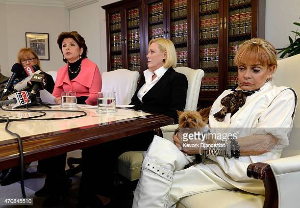 Janice Baker Kinney Marcella Tate and Autumn Burns three alleged sexual assault victims of comedian Bill Cosby speak during a news conference with...