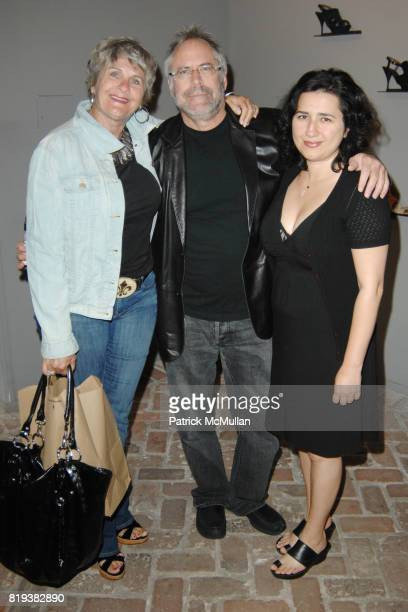 Janice Bender Neal Axelrod and Fazilet Bazak attend Elijah Blue 'Stuff of Legends' presented by Kantor Gallery and Madison Gallery at Malibu on July...
