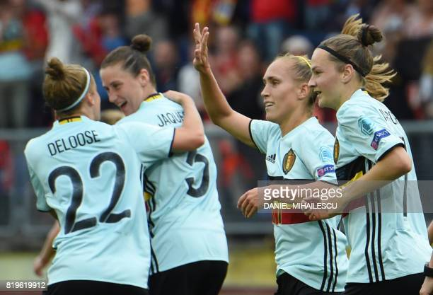 Janice Cayman of Belgium celebrates after scoring the 20 against Norway during the UEFA Women's Euro 2017 football match between Norway and Belgium...