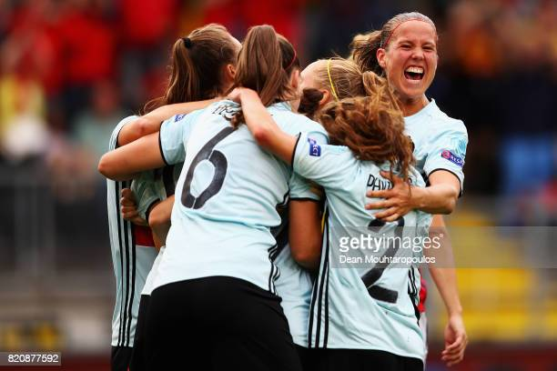 Janice Cayman of Belgium celebrates with team mates after scoring her team's second goal of the game during the UEFA Women's Euro 2017 Group A match...