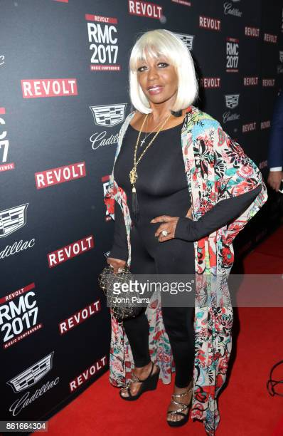 Janice Combs arrives at REVOLT Music Conference Gala Dinner Award Presentation at Eden Roc Hotel on October 14 2017 in Miami Beach Florida