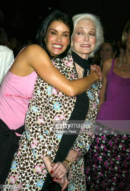 Janice Dickinson and Carmen Dell'Orifice during Nicole by Nicole Miller Fashion Show Presented by JCPenney Arrivals Backstage and Runway at The Four...