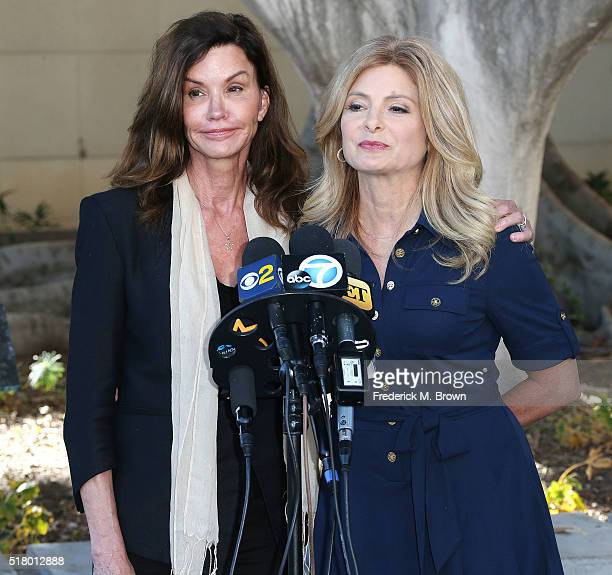 Janice Dickinson and her attorney Lisa Bloom speak during a press conference at a motions hearing in her lawsuit against comedian Bill Cosby at the...