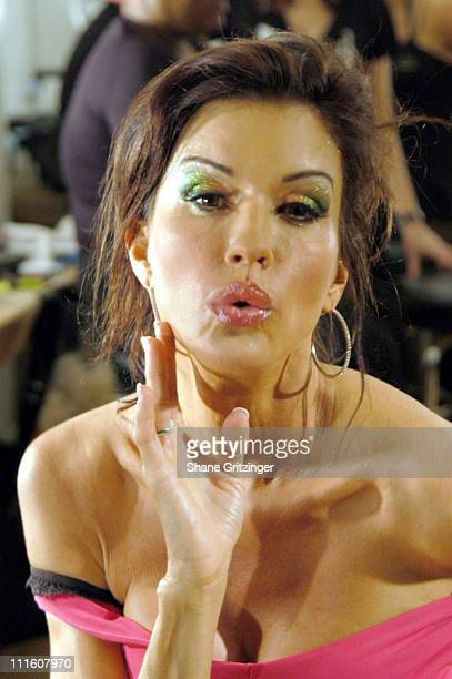 Janice Dickinson Backstage during Olympus Fashion Week Spring 2006 BRude Runway and Backstage at The Altman Building in New York City New York United...