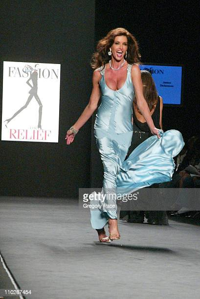 Janice Dickinson during Olympus Fashion Week Spring 2006 Fashion For Relief On the Runway at Bryant Park in New York City New York United States