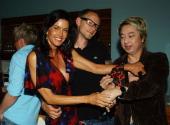 Janice Dickinson wearing a Movado watch Thomas Frye and Damien King designer