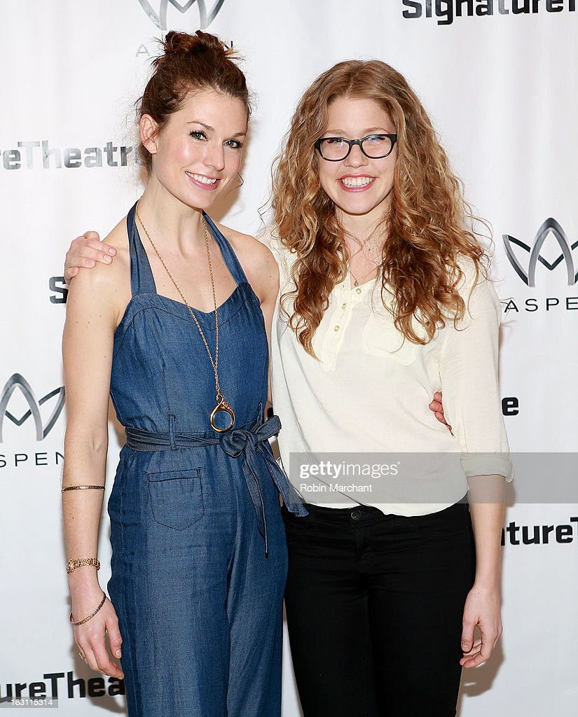 Janie Brookshire (L) and Lisa Joyce attend the 'Old Hats' Opening Night at Signature Theatre Company's The Pershing Square Signature Center on March 4, 2013 in New York City.