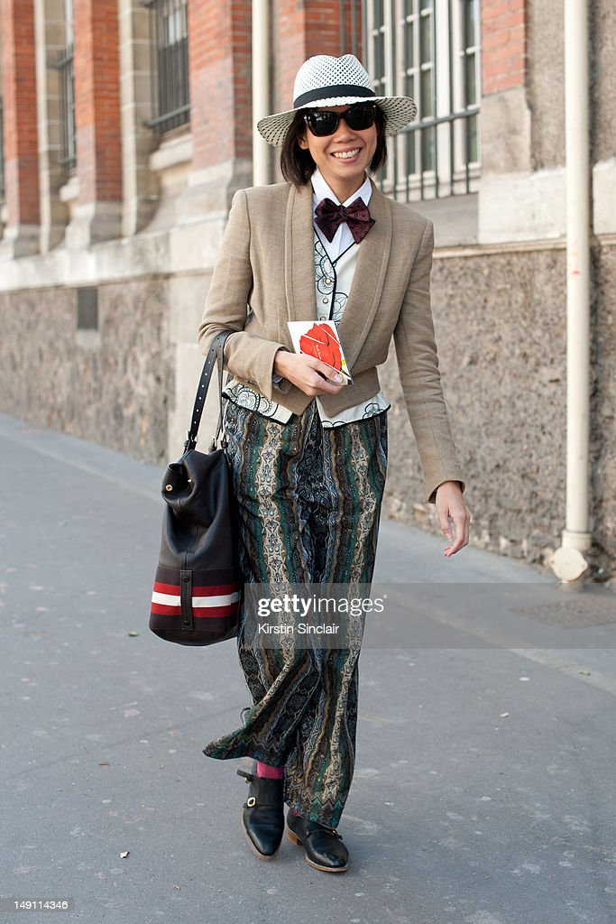 Janie Cai fashion editor at Esquire Singapore at Paris Fashion Week Spring/Summer 2013 menswear shows on July 01, 2012 in Paris, France..